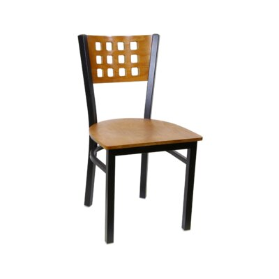 Cutout Metal Solid Wood Dining Chair (Set of 2) Color: Walnut