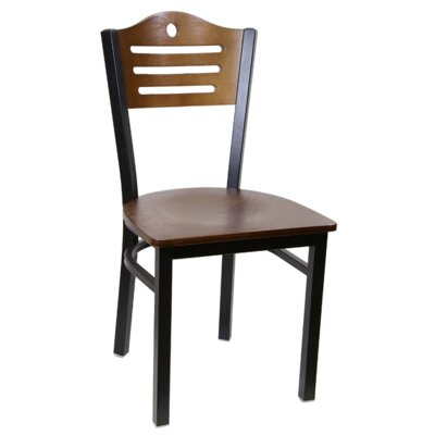 Slat Metal Dining Chair (Set of 2) Color: Cherry/Black