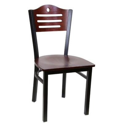 Slat Metal Dining Chair (Set of 2) Color: Dark Mahogany