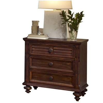 Compass Rose 3 Drawer Nightstand