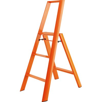 3-Step Aluminum/Steel Step Stool with 250 lb. Load Capacity Color: Orange