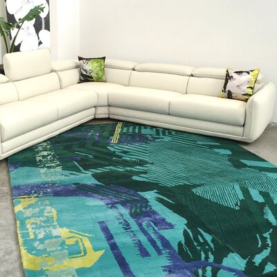 New Age Hand-Tufted Teal Area Rug Rug Size: 5 x 8
