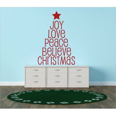 """Joy Love Peace Believe Christmas Wall Decal Size: 14"""" H x 30"""" W x 0.16"""" D, Color: Red"""