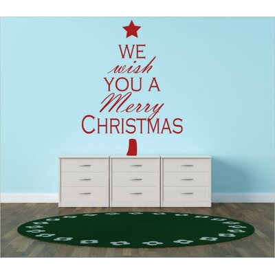 """We Wish You a Merry Christmas Wall Decal Color: Red, Size: 10"""" H x 20"""" W x 0.16"""" D"""