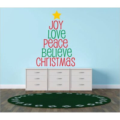 """Joy Love Peace Believe Christmas Wall Decal Color: Green/Red, Size: 22"""" H x 30"""" W x 0.16"""" D"""