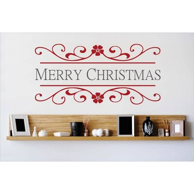 """Merry Christmas Wall Decal Size: 10"""" H x 20"""" W x 0.16"""" D, Color: Red/Gray"""