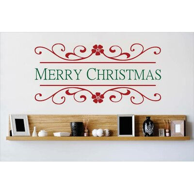 """Merry Christmas Wall Decal Color: Red/Green, Size: 10"""" H x 20"""" W x 0.16"""" D"""