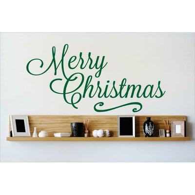 """Merry Christmas Wall Decal Size: 8"""" H x 20"""" W x 0.16"""" D, Color: Green"""