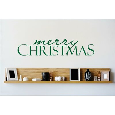 """Merry Christmas Wall Decal Size: 10"""" H x 40"""" W x 0.16"""" D, Color: Green"""