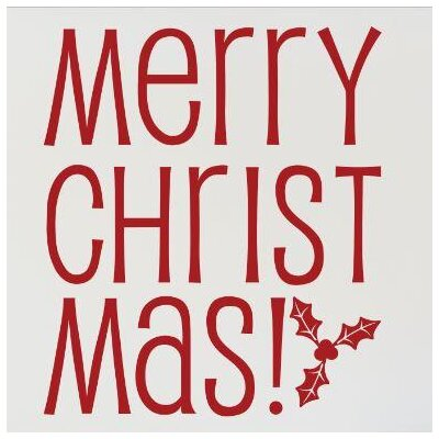"""Merry Christmas! Wall Decal Color: Red, Size: 20"""" H x 20"""" W x 0.16"""" D"""