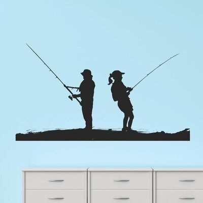 Man Women Fishing Scene Wall Decal 2015 BS 150 Black