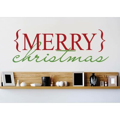 """Merry Christmas Wall Decal Size: 12"""" H x 30"""" W x 0.16"""" D"""