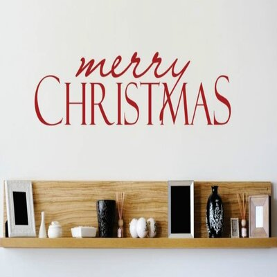 """Merry Christmas Wall Decal Color: Red, Size: 6"""" H x 30"""" W x 0.16"""" D"""