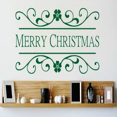 """Merry Christmas Wall Decal Size: 10"""" H x 20"""" W x 0.16"""" D, Color: Green"""
