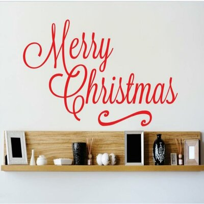 """Merry Christmas Wall Decal Color: Red, Size: 8"""" H x 20"""" W x 0.16"""" D"""