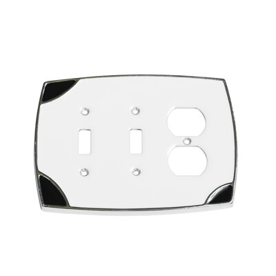 Lumino Double Toggle/Duplex Receptacle Switch Plate Finish: White/Black