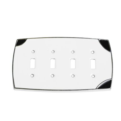 Lumino Quadruple Toggle Switch Plate Finish: White/Black