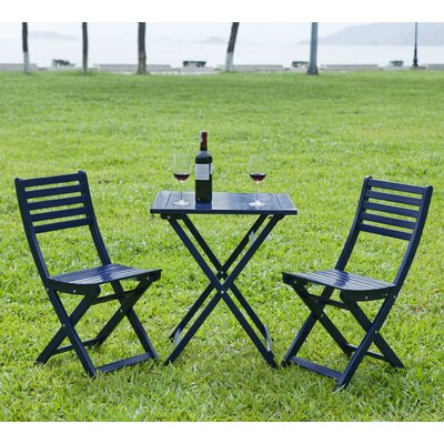 3 Piece Bistro Set Finish: Navy Blue