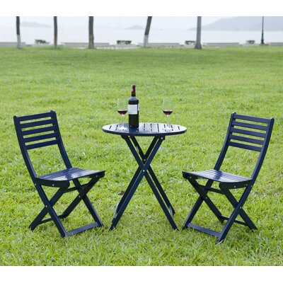 3 Piece Round Bistro Set Finish: Navy Blue
