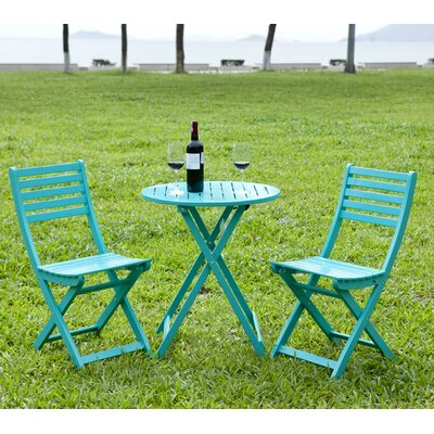3 Piece Round Bistro Set Finish: Turquoise