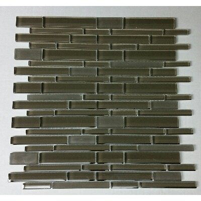 12 x 12 Glass Random Strip Mosaic Clear & Frosted MAG-030-ST