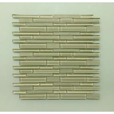12 x 12 Glass Random Strip Mosaic Clear & Frosted MAG-005-ST