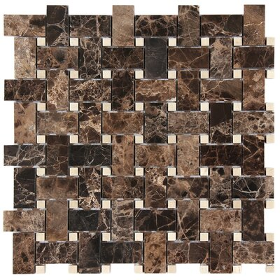 Dark Emperador Basket Weave Mosaic Polished with Crema Marfil Dot