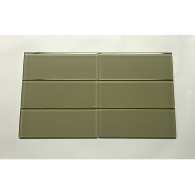 3 x 8 Glass Field Tile in Dark Green