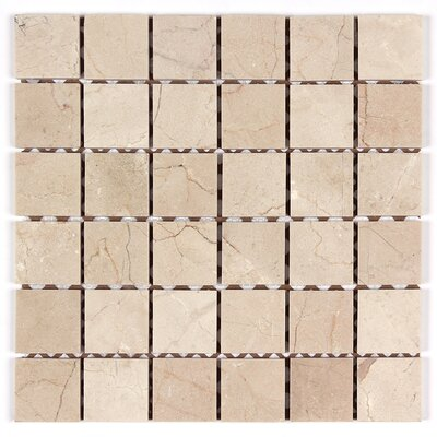 2 x 2 Square Mosaic Polished in Crema Marfil