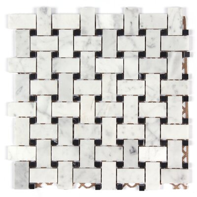 Bianco Carrara Basket Weave Polished Mosaic Tile in Black Dot