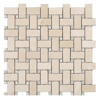 Crema Marfil Basket Weave Mosaic Polished with Bianco Carrara dot