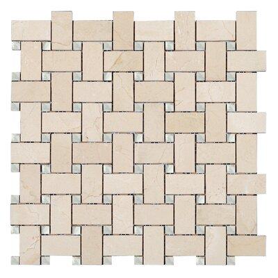 Crema Marfil Basket Weave Mosaic Polished with Bianco Carrara dot