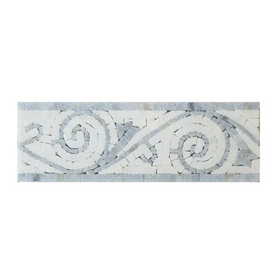Bianco Carrara Art Border Polished in Blue Stone and Arctic White