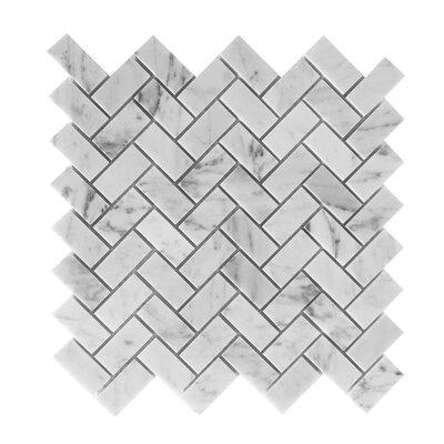 Bianco Carrara 3/4 x 2 Herringbone Mosaic Polished