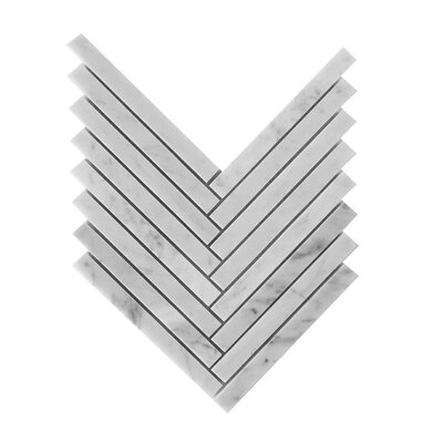 Bianco Carrara 5/8 x 6 Herringbone Mosaic Polished