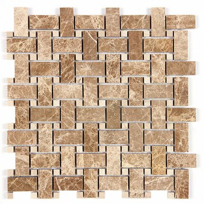 Emperador Light Basket Weave Random Sized Marble Mosaic Tile in Beige