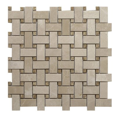 Botticino Basket Weave Light Emperador 24 x 14 Mosaic Tile In Brown