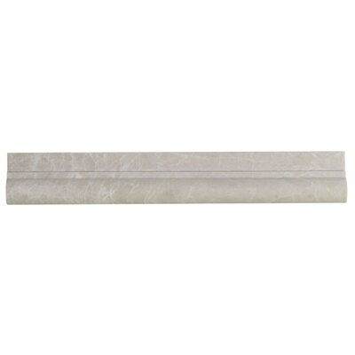 Botticino 5 x 12 Marble Bullnose Tile Trim In Beige