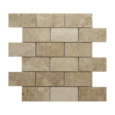 Cappuccino Brick 2 x 4 Marble Mosaic Tile in Beige