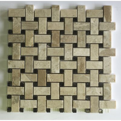 Diana Royal Olive Maroon Basket Weave Random Sized Marble Mosaic Tile in Beige