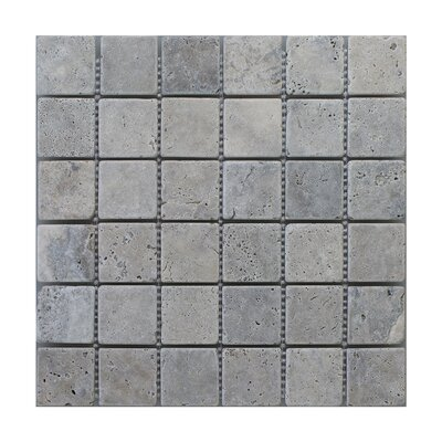 Silver Travertine 2 x 2 Marble MosaicTile in Gray