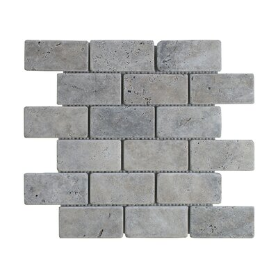 Silver Travertine Brick 2 x 4 Marble MosaicTile in Gray
