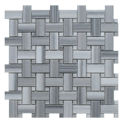 Equator Basket Weave Random Sized Marble Mosaic Tile in Gray