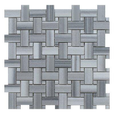 Equator Basket Weave Random Sized Marble Mosaic Tile in Gray