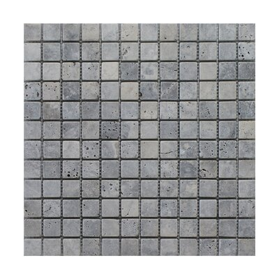 Silver Trevertine 1 x 1 Marble MosaicTile in Gray