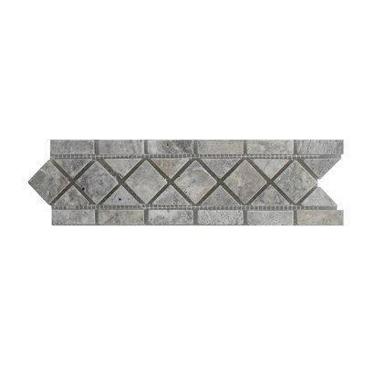 Silver Travertine 3.25 x 12 Marble Border Tile in Gray