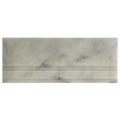 Milas 12 x 5 Marble Cove Base Tile Trim in White