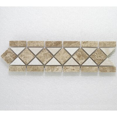 Botticino Classic 3.25 x 12 Marble Decorative Mosaic Tile In Brown