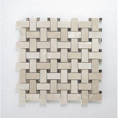 Botticino Basket Weave Dark Emperador 24 x 14 Mosaic Tile In Brown