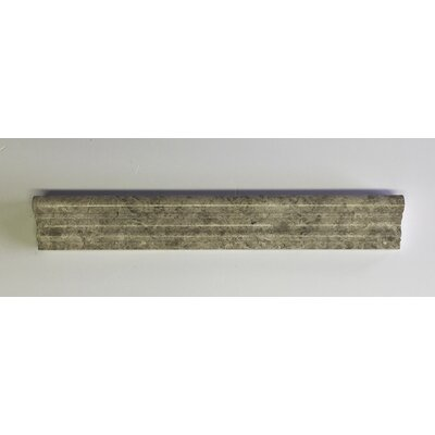Silver Galaxy 2 x 12 Marble Counter Rail Tile Trim in Gray